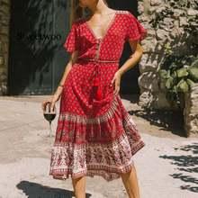 Женское платье миди Красное длинное летнее с цветочным принтом