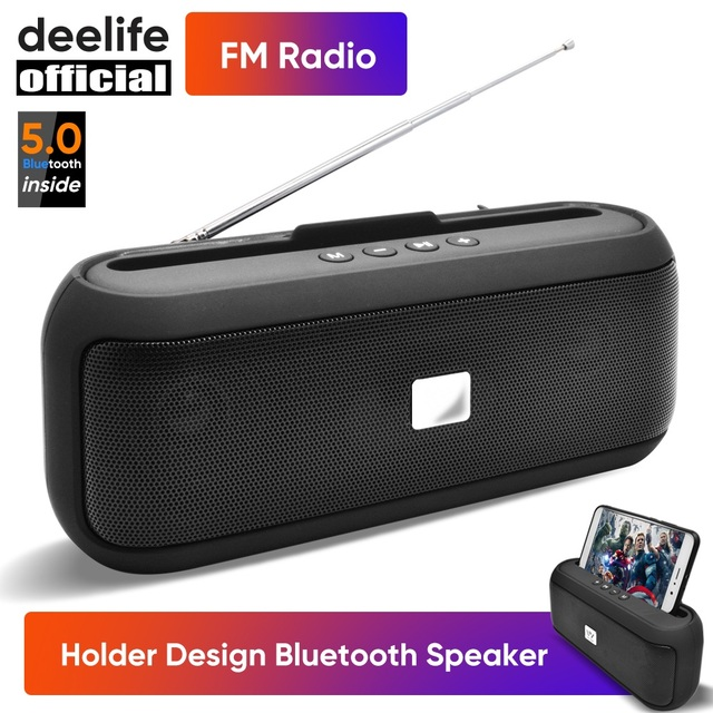 Deelife Portable Bluetooth Speaker Wireless with FM Radio 10W Stereo Column for Mobile Phone Holder Support BT 5.0 TWS Speakers 1