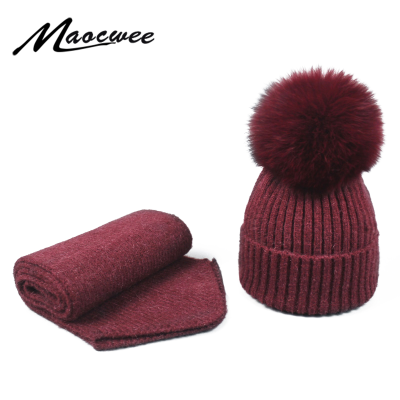 Scarf Hat Set Women Hat PomPon Knitted Skullies Beanies Cap Real Fox Ball Autumn Winter Warm Solid Color Natural Striped Hats