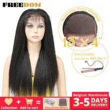 FREEDOM pelucas frontales de encaje sintético para mujeres negras Yaki, pelo largo liso de 26 pulgadas, pelo de bebé, fibra resistente al calor
