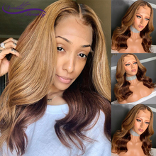 Ombre Blonde Highlight Human Hair lace Front Wig With Baby Hair 13X6 Brazilian Wavy Remy Hair Pre Plucked Human Wig Dream Beauty