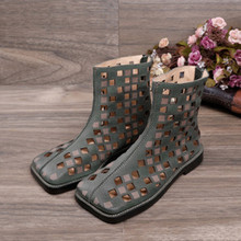 Women's Shoes Summer Cool-Boots Square-Head Spring Low-Heel Frosted National-Style Retro