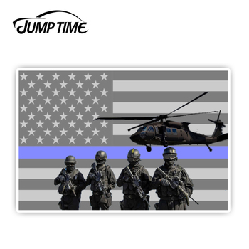 JumpTime 13cmx8.7cm For Police Blue Line American Flag Government Support Patriot Vinyl Decal Car Sticker Motorcycle Car Styling image