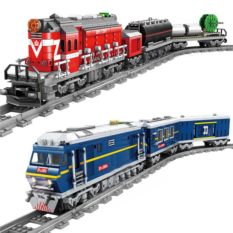 New City Train Power-Driven Diesel Rail Train Cargo With Tracks Set Model Technic Compatible All Brands Building Blocks