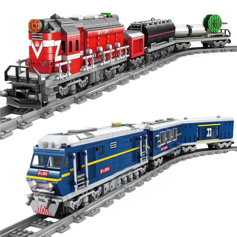 New City Train Power-Driven Diesel Rail Train Cargo With Tracks Set Model Technic Compatible All Brands Building Blocks
