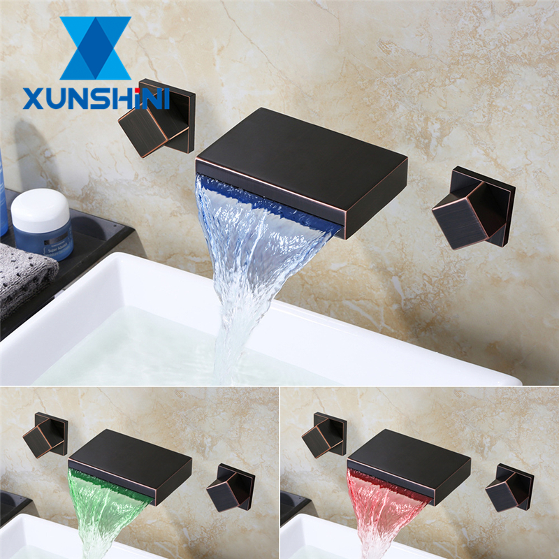 XUNSHINI Bathtub Bathroom Waterfall Spout Split Faucet Hot Cold Water Control In-wall Concealed Double handle LED Light Faucet