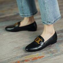 Meotina mocassins sapatos femininos dedo do pé redondo sapatos de metal decoração deslizamento em calçados senhoras rebanho casual sapatos planos primavera 42 43