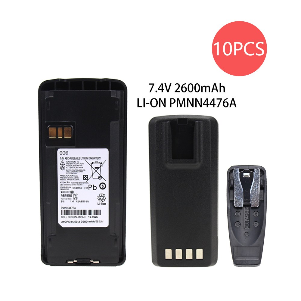 10Pcs 2600mAh Li-Ion External Battery Pack For Motorola CP185, CP476, CP477, EP350 Radio With Belt Clip