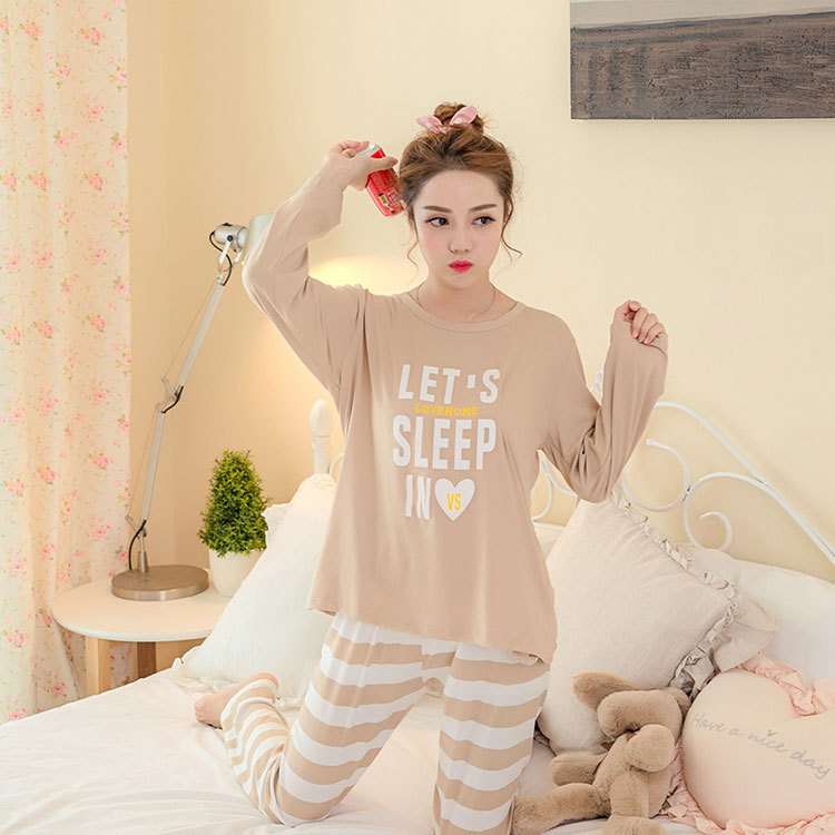 Spring And Autumn New Style Long Sleeve Pajamas Women's Cartoon Cute GIRL'S Casual Summer Thin Home Clothing