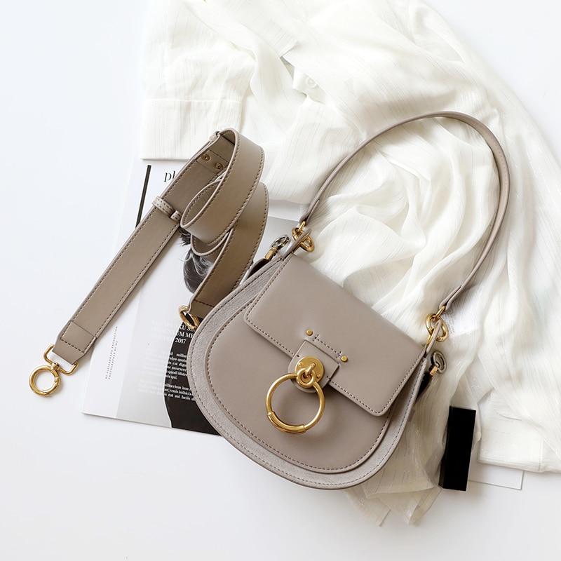 Sammons Crossbody Women bag Genuine leather+Suede messenger bag luxury brand design Shoulder Bags