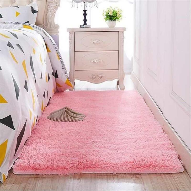 50  Washed Silk Hair Non-slip Carpet Living Room Coffee Table Blanket Bedroom Bedside Mat Yoga Rugs Solid Color Plush