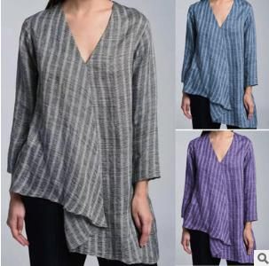 Women's Shirt Spring/Summer 2020 Explosions Large Size Loose Cotton and Hemp Shirt Women's Leisure Stripe Long Sleeve Jacket