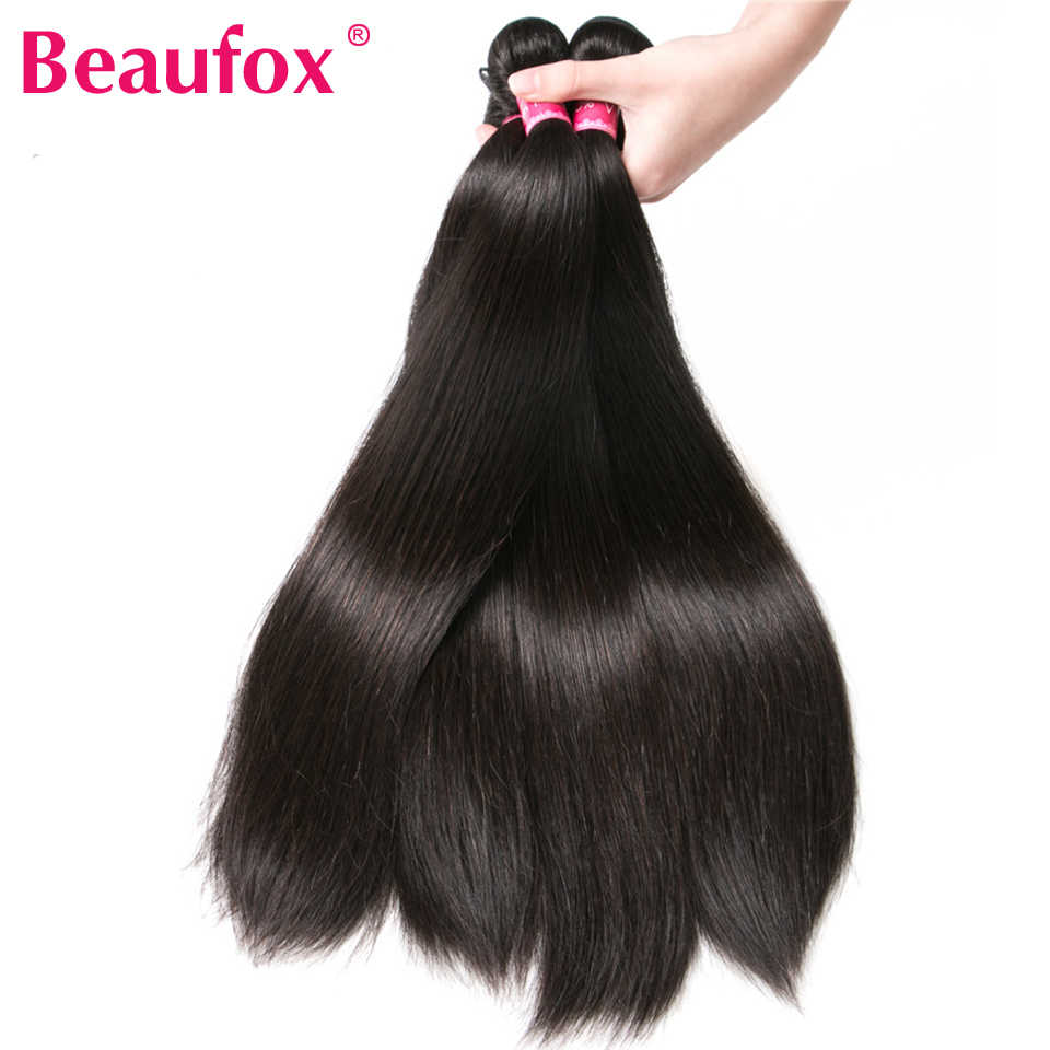 Beaufox Peruvian Hair Bundles Straight Human Hair Weave Bundles Remy Hair Extension Natural/Jet Black 1/3/4 Pcs 8-28 Inches