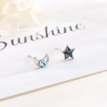 Stud Earring 925 Sterling Silver Fine Earrings For Women Fashion Girls Jewelry Trend Gift 2020 New Design Star Moon Blue Crystal