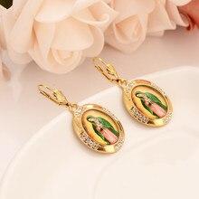 Cz bonito brincos de gota de ouro strass cristal mary para meninas moda feminina bijoux presentes encantos mãe presente
