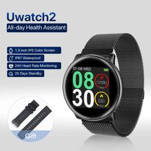 New Fashion Uwatch2 Smart Watch For Andriod,IOS 1.3 inch Full Touch Screen IP67 25 days Standby 7 Sport Modes Metal Unibody