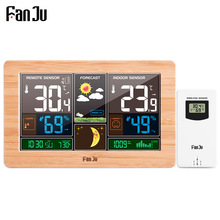 FanJu FJ3378 Digital Alarm Clock Wall Weather Station Indoor Outdoor Temperature Humidity Barometric Forecast Electronic Wat