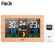 FanJu FJ3378 디지털 알람 시계 벽 기상 관측소 실내 실외 온도 습도 기압 예보 전자 와트