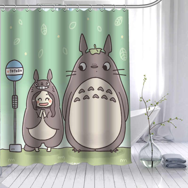 ShunQian HOT SALE Totoro Anime Shower Curtain Polyester Fabric 12 Hooks For The Bathroom Waterproof Mildew Funny Bath Curtain