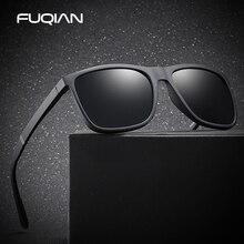 FUQIAN 2019 Retro Square Men Sunglasses Polarized Fashion TR90 Light Weight Sunglass Safe Driving Glass