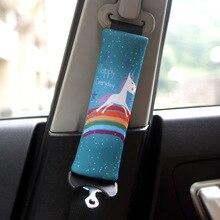 1 זוג/2 חתיכות חמוד Cartoon רכב Sefety מושב חגורת כיסוי כרית צוואר כרית רכב חגורת בטיחות הרצועה רתם ראש כרית כיסוי