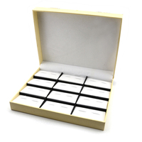 Vintage Top Quality Display Storage Box 12 Pair Aritifical Leather Cufflinks Storage Case Jewelry Display