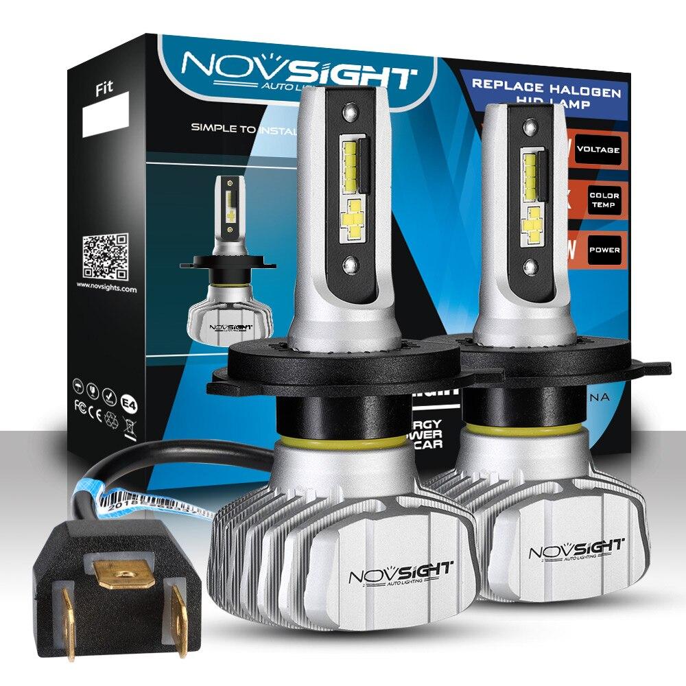 NOVSIGHT Voiture Phare H4 Salut/Lo Faisceau LED H7 H1 H3 H8 H9 H11 H13 9005 9006 9007 50W 10000lm 6500K Auto Phare Antibrouillard Ampoules