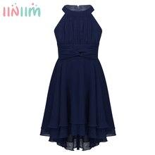 아이 소녀를위한 iiniim 우아한 드레스 여름 파티 댄스 파티 드레스 10 대 시폰 높은 낮은 민소매 라인 아이 소녀 드레스