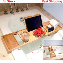 Extendable Bamboo Bathtub Tray Caddy Wooden Bath Organizer Rack Bath Tray Bathroom Book Wine Tablet Holder Reading Shelf
