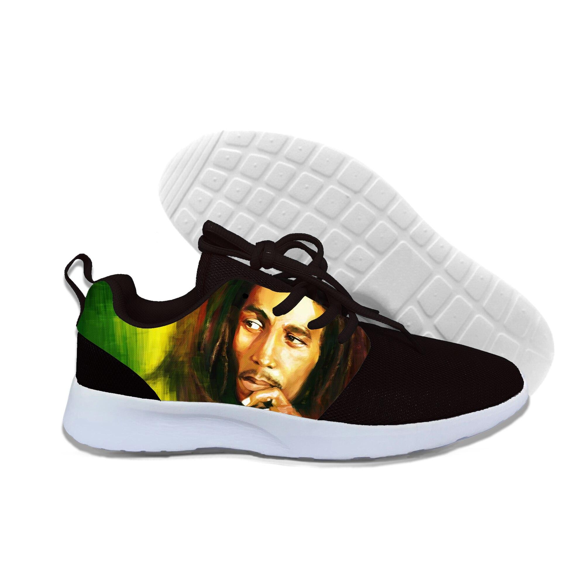 Мужская повседневная обувь из сетчатого материала, на шнуровке, на заказ, Bob Marley удобная модная мужская Обувь На Шнуровке Для Взрослых