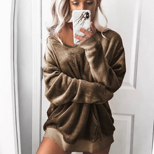 Fashion Women Fleece Velvet Sweatshirt Solid Long Sleeve Hoodies Autumn Winter Warm Pullovers Streetwear недорго, оригинальная цена