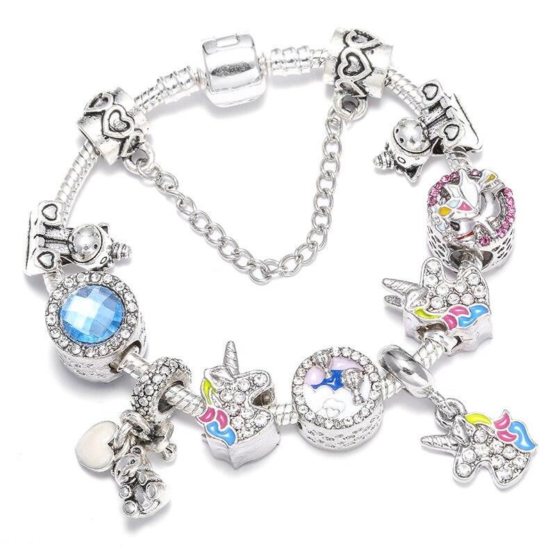 BAOPON Прямая поставка винтажные Подвески серебряного цвета браслеты для женщин DIY Кристальные бусины изящные браслеты для женщин Pulseira ювелирные изделия - Окраска металла: Type 15