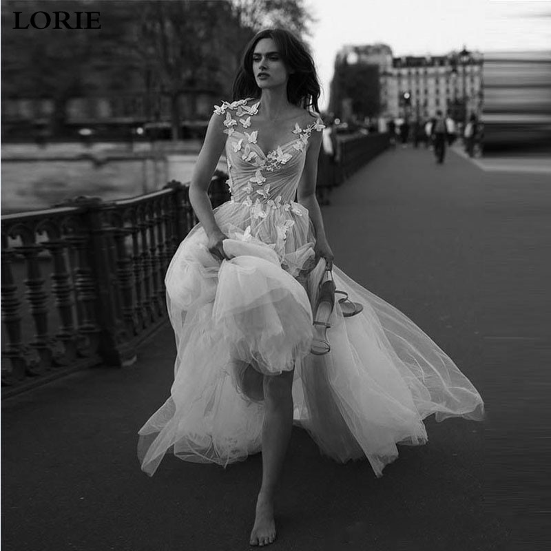 LORIE Boho A Line Butterfly Wedding Dresses 2019 Princess Appliqued Lace Bride Dresses Vestidos de novia Beach Style