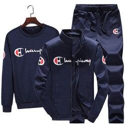 Мужской спортивный свитер, Модный повседневный демисезонный матовый свитер, осеннее пальто с длинными рукавами и штаны, костюм из трех пред...