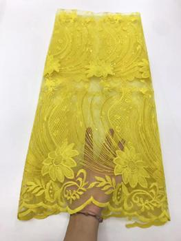 New Yellow African Mesh Lace Fabric 2019 High Quality Guipure Net Lace Nigerian Sequins With Bead African Dresses For Party