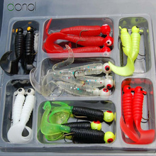 17pcs/set Fishing Float Soft Worm Baits Lure Lead Jig Head Hook Silicone Tackle