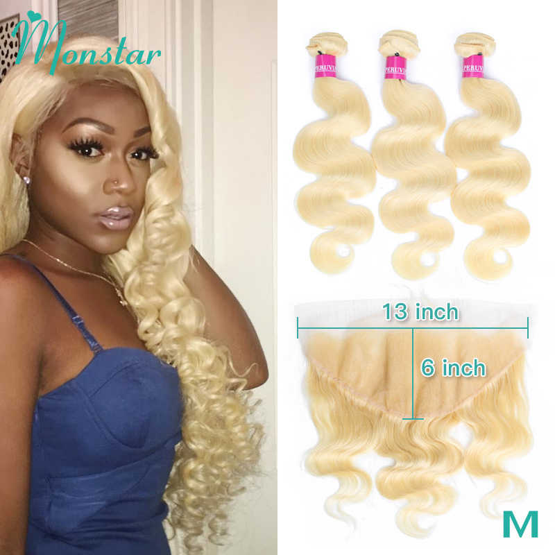 Monstar Brazilian Hair Weave Bundle Deals 613 Honey Blonde Body Wave Remy Human Hair Bundles with Closure 13x6 Lace Frontal
