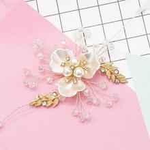 Headdress and Bracelet New Fashion Exquisite Rhinestone Pearl Flower Gold Silver Female Charming Jewelry Accessories Gift. charming rhinestone leaf cross bracelet
