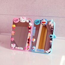 Portable Mirror Folding Heart Square Girl Cute Cartoon INS