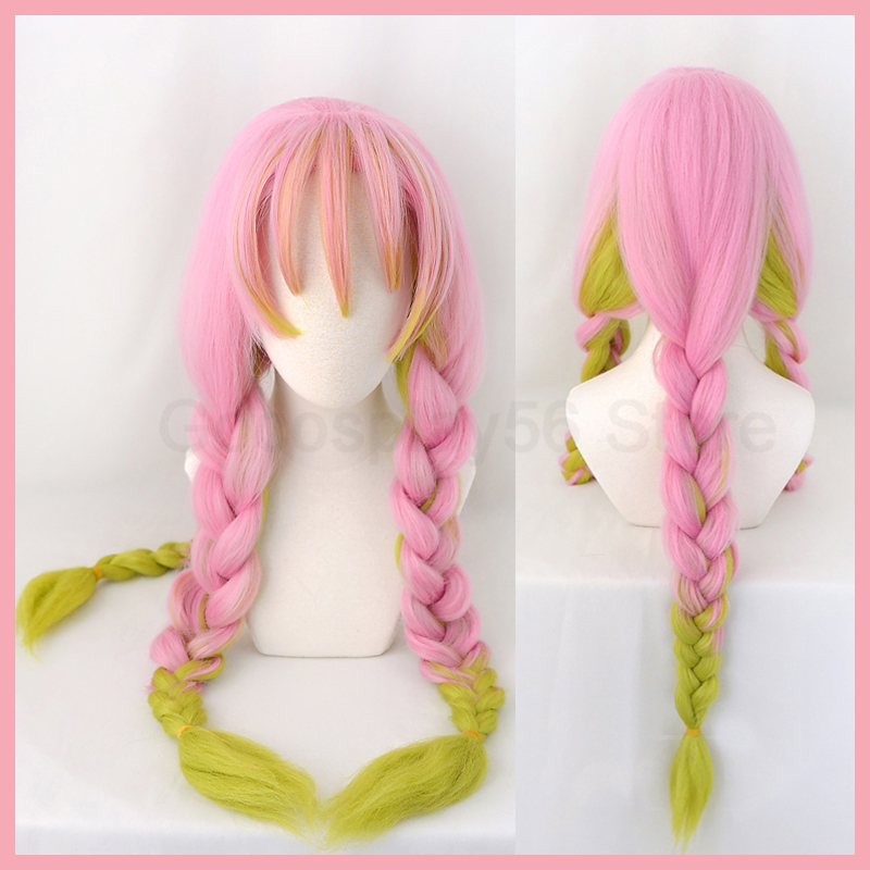 Demon Slayer Kanroji Mitsuri Cosplay Thick Braids Ponytails Kimetsu No Yaiba Gradient Pink Green Hair Halloween Adult