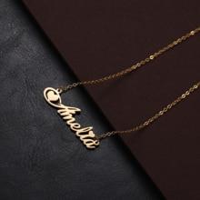 Индивидуальные имя Ожерелье для женщин мужчины из нержавеющей стали персонализированные пользовательские любителей ожерелье ювелирные изделия День матери подарок