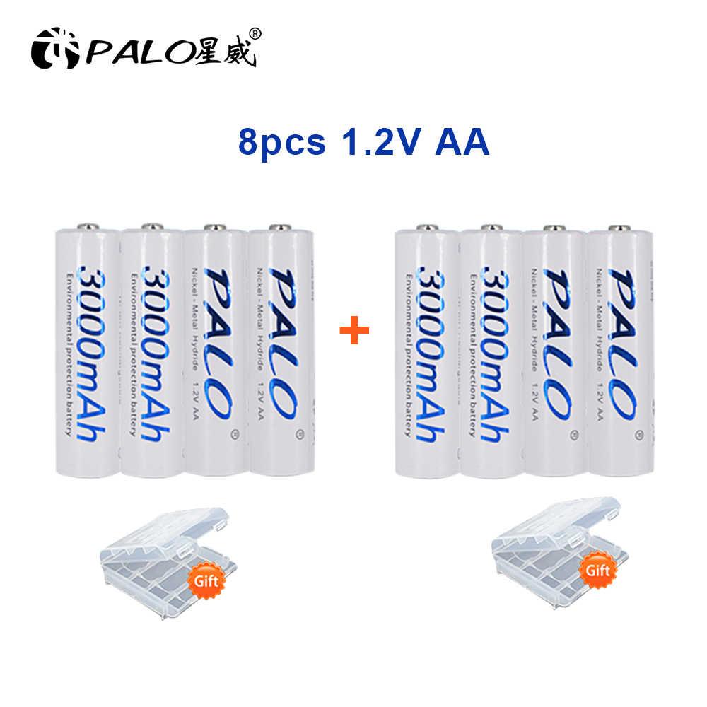 4 قطعة AA بطارية 1.2 فولت جودة ni-mh بطارية قابلة للشحن AA 3000mAh PALO قابلة للشحن 2A بطارية للكاميرا aa شاحن بطارية
