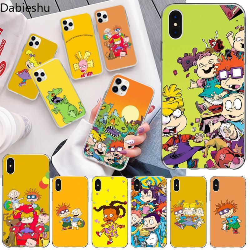 NBDRUICAI Cute Anime Rugrat black Phone Case Hull for iphone 12 pro max 11 pro XS MAX 8 7 6 6S Plus X 5S SE 2020 XR cover