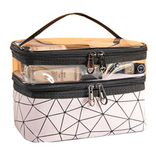 New double-layer waterproof pu Cosmetic bag Transparent laser make up Case for women makeup box travel toiletry Organizer bag