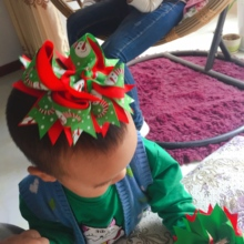 Girls Christmas Hair Bows With Clips Grosgrain Ribbon Headwear Handmade Bowknot Hair Accessories For Christmas 5 inches/8 inches