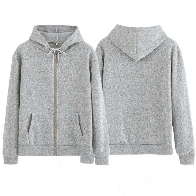 Women Sweatshirt Casual Solid Colors Oversized Full Zip-Up Hoodies Jacket 2020 Winter Velvet Thickening Warm Tops Long Sleeve 2