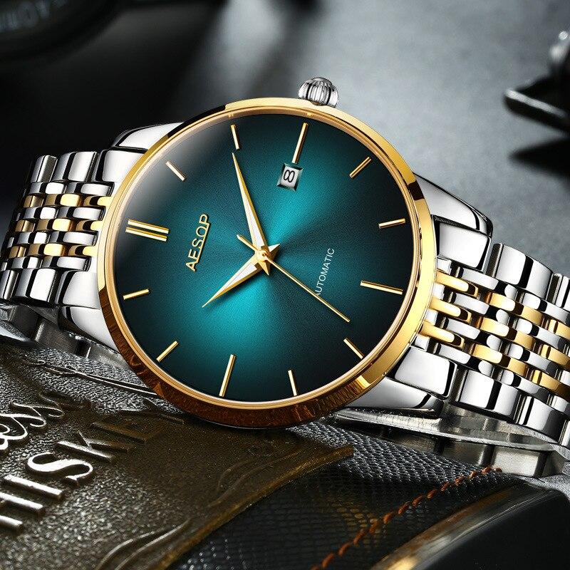 Uomini di Lusso Orologi Meccanici Verde Fantasma Acqua in Acciaio Inox di Business Orologi Luminosi Orologio Automatico Uomo Blu Reloj Hombre - 3