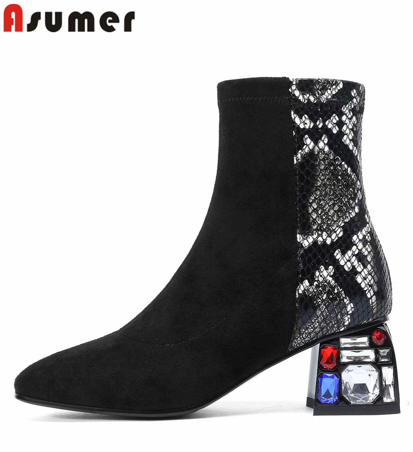 ASUMER 2020 New arrival women boots rhinestone high heels autumn shoes patchwork fashion ladies ankle boots