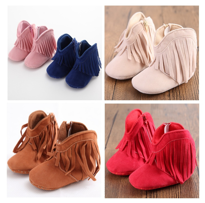 Baby Boots Toddler Shoes Moccasins 0-18Months High Top PU Infant First Walker Soft Sole Girls Shoes Newborn Crib Shoes image