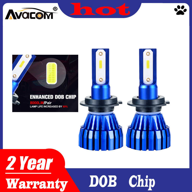 2Pcs LED Car Bulbs H7 H1 12000Lm DOB Chip 6500K White LED H4 Hi-Lo Lights 9005/HB3 9006/HB4 H11 H8 H9 12V 24V Auto Headlights
